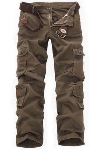 Best Casual Loose Fit Solid Color Multi-Pockets Zip Fly Cargo Pants For Men COFFEE 34