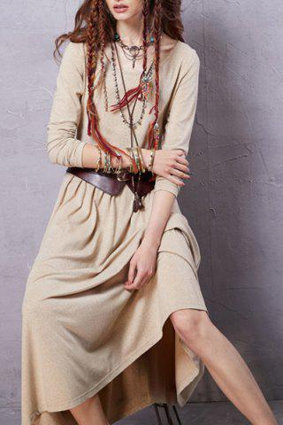 New Scoop Neck Long Sleeve Heathered Dress - M BEIGE Mobile
