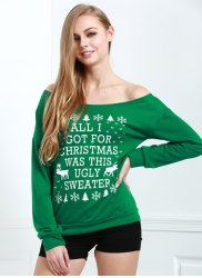 Stylish Skew Neck Snowflake and Elk Printed Christmas Sweatshirt For Women