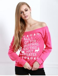 Skew Neck Snowflake and Elk Printed Christmas Sweatshirt