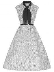 Retro Style Turn-Down Collar Sleeveless Polka Dot Ball Gown Dress For Women