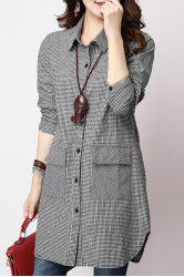 Casual Long Sleeve Shirt Collar Plaid Loose-Fitting Women's Shirt -