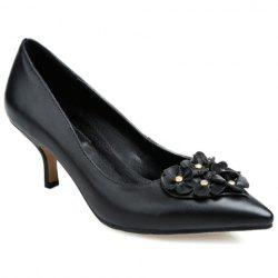 Elegant Stiletto Heel and Appliques Design Pumps For Women - BLACK