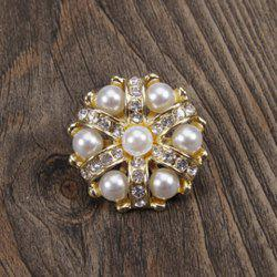 Charming Faux Pearl Rhinestoned Flower Brooch For Women -