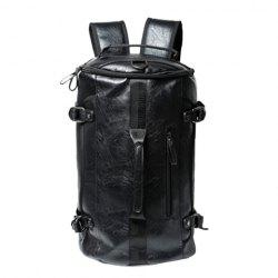 Casual Black and Buckle Design Backpack For Men -