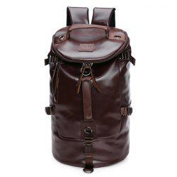 Casual Solid Color and PU Leather Design Backpack For Men - COFFEE