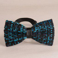 Stylish Two Color Match Woolen Yarn Knitted Bow Tie For Men - LAKE BLUE