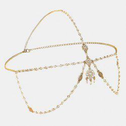 Chic Bohemia Style Faux Pearl Link Chain Headband For Women - GOLDEN