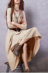 Scoop Neck Long Sleeve Heathered Dress - BEIGE