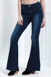 Stylish Denim Super Flare Women's Jeans - DEEP BLUE