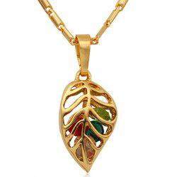 Cute Colored Leaf Hollow Out Pendant Necklace For Women -