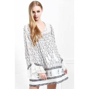 Floral Long Sleeve Tunic Casual Dress - White - M