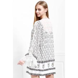 Floral Long Sleeve Tunic Casual Swing Dress - WHITE XS