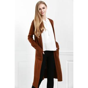 Open Front Pocket Long Cardigan -