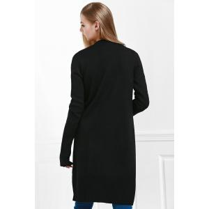 Open Front Pocket Long Cardigan - BLACK M