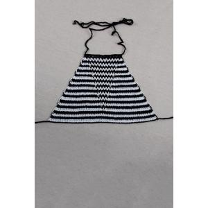 Stylish Halter Striped Crocheted Women's Tank Top - White And Black - One Size(fit Size Xs To M)