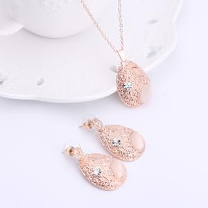 Faux Opal Rhinestone Water Drop Pendant Necklace and Earrings -