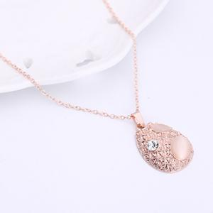 Faux Opal Rhinestone Water Drop Pendant Necklace and Earrings - ROSE GOLD