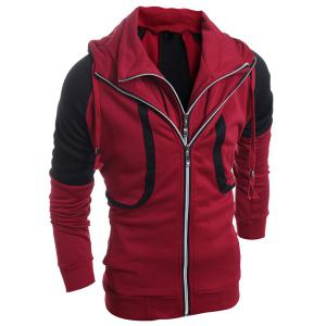 Hooded Color Block Splicing Double Zipper Design Faux Twinset Long Sleeve Men's Hoodie - RED L
