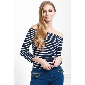 Stylish Off The Shoulder Striped Seamless Women's Top -