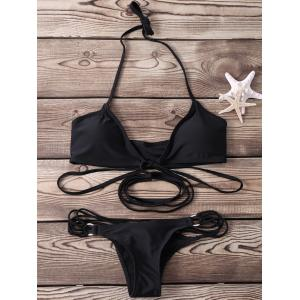 Sexy Halter   Solid Color Lace-Up Bikini Set For Women