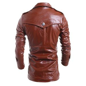 Turn-Down Collar Solid Color Long Sleeve PU-Leather Jacket For Men -