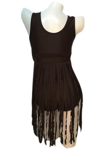 Shops Sexy Scoop Neck Fringed Plus Size One-Piece Women's Swimwear