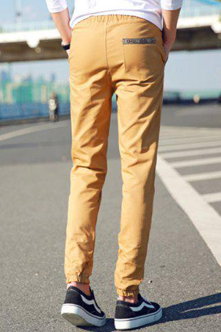 Buy Lace-Up Embroidered Selvedge Embellished Beam Feet Nine Minutes of Pants For Men - M KHAKI Mobile