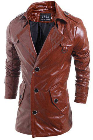 Hot Turn-Down Collar Solid Color Long Sleeve PU-Leather Jacket For Men
