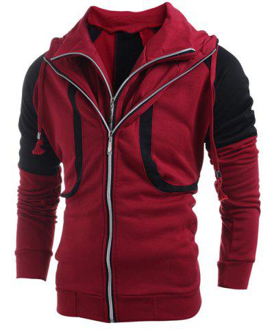 Hooded Color Block Splicing Double Zipper Design Faux Twinset Long Sleeve Men's Hoodie - Red - 2xl