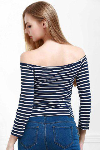 Fancy Stylish Off The Shoulder Striped Seamless Women's Top BLUE S