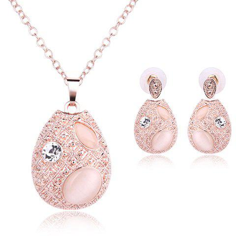 Latest Faux Opal Rhinestone Water Drop Pendant Necklace and Earrings ROSE GOLD