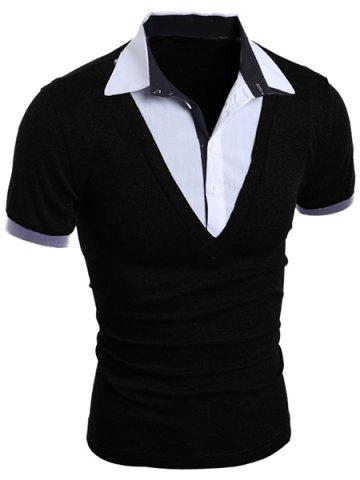 Fashion Turn-Down Collar Faux Twinset Short Sleeve Men's T-Shirt - M BLACK Mobile