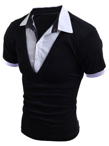 Fancy Turn-Down Collar Faux Twinset Short Sleeve Men's T-Shirt - M BLACK Mobile