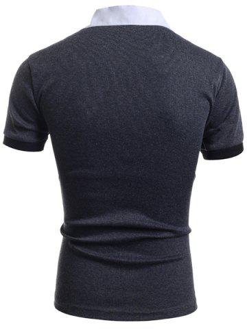 Sale Turn-Down Collar Faux Twinset Short Sleeve Men's T-Shirt - XL GRAY Mobile