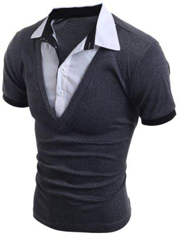Fashion Turn-Down Collar Faux Twinset Short Sleeve Men's T-Shirt - XL GRAY Mobile