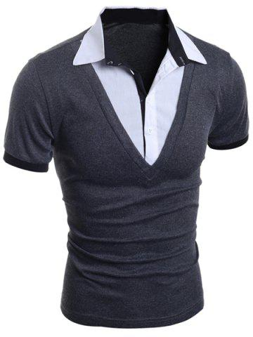 Cheap Turn-Down Collar Faux Twinset Short Sleeve Men's T-Shirt - XL GRAY Mobile