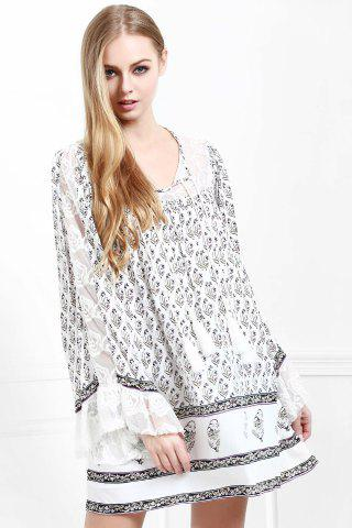 Hot Floral Long Sleeve Tunic Casual Dress - S WHITE Mobile