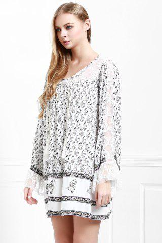 Lady Floral Long Sleeve Tunic Casual Dress - S WHITE Mobile