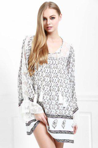 Store Floral Long Sleeve Tunic Casual Dress - S WHITE Mobile