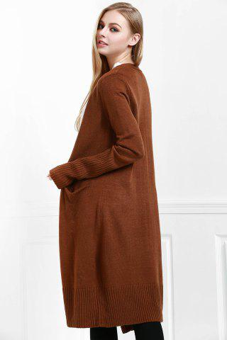 Online Open Front Pocket Long Cardigan - S COFFEE Mobile