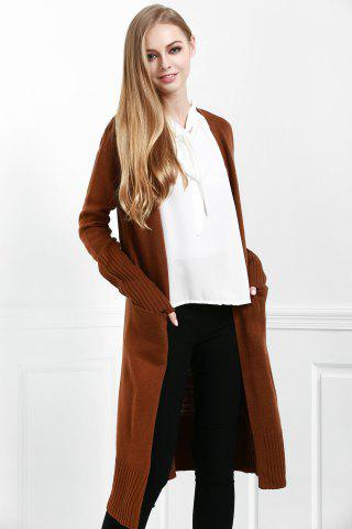 Fashion Open Front Pocket Long Cardigan - S COFFEE Mobile