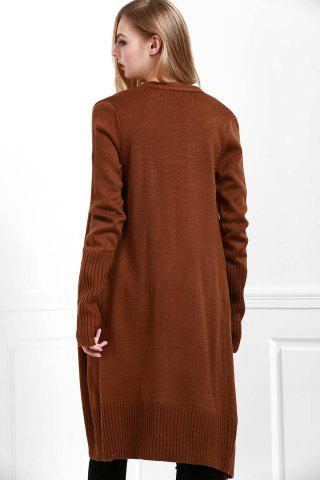 Buy Open Front Pocket Long Cardigan - S COFFEE Mobile