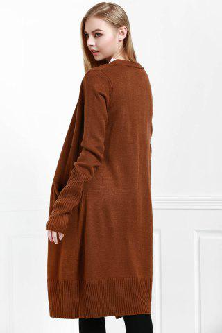 Online Open Front Pocket Long Cardigan COFFEE M