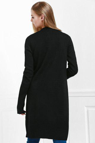 Trendy Open Front Pocket Long Cardigan - M BLACK Mobile