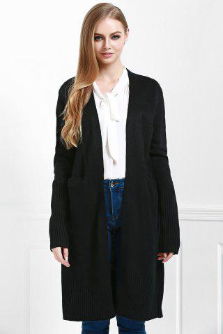 Women's Open Front Pocket Long Cardigan - M BLACK Mobile