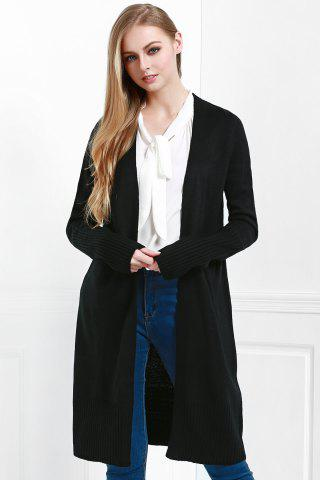 Buy Open Front Pocket Long Cardigan - M BLACK Mobile