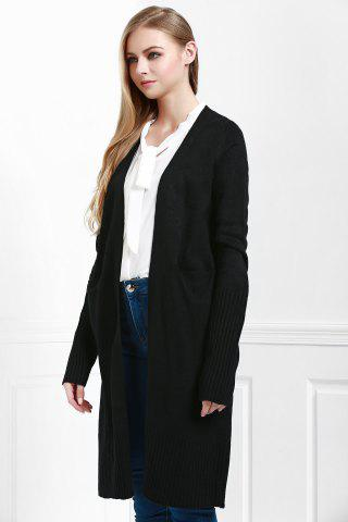 Best Open Front Pocket Long Cardigan - M BLACK Mobile