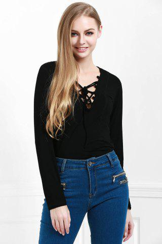 Best Stylish Lucky Lace Up Women's Top BLACK S