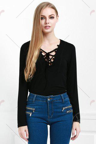 Discount Stylish Lucky Lace Up Women's Top - S BLACK Mobile